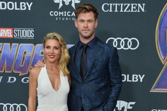 Avengers star Chris Hemsworth (R) with his wife Elsa Pataky. Avengers: Endgame has been named the most tweeted-about movie ever on Twitter. File Photo by Jim Ruymen/UPI