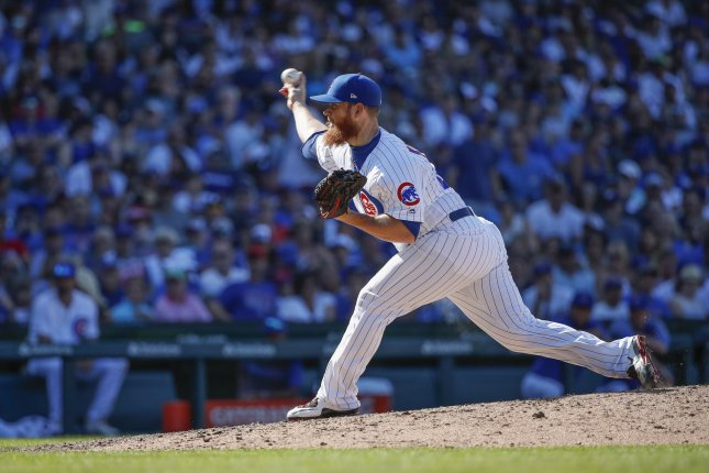 Chicago Cubs relief pitcher Craig Kimbrel was placed on the IL due to right elbow inflammation. File Photo by Kamil Krzaczynski/UPI