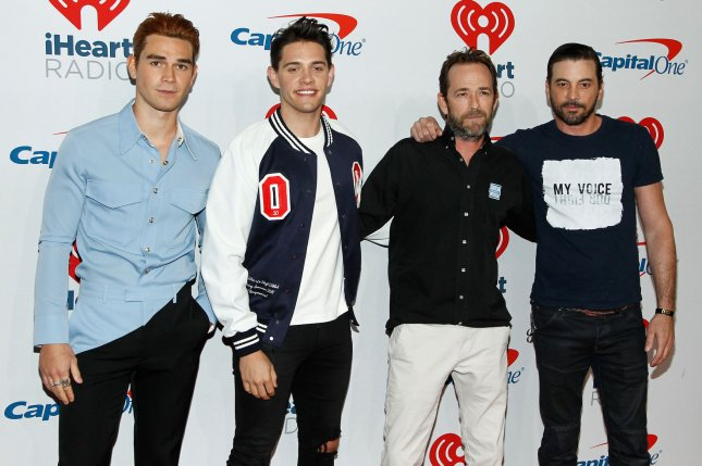 (L-R) Riverdale stars KJ Apa, Casey Cott, Luke Perry and Skeet Ulrich arrive for the iHeartRadio Music Festival in Las Vegas in 2018. Ulrich announced Sunday he is leaving the show after four seasons. File Photo by James Atoa/UPI