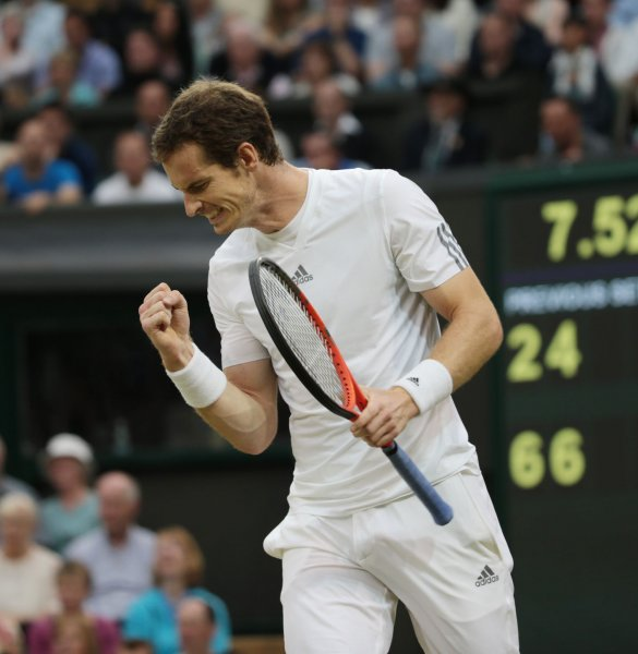Great Britain's Andy Murray reacts after winning the second set in his match against Spain's Tommy Robredo on day five of the 2013 Wimbledon Championships in London on June 28, 2013. UPI/Hugo Philpott