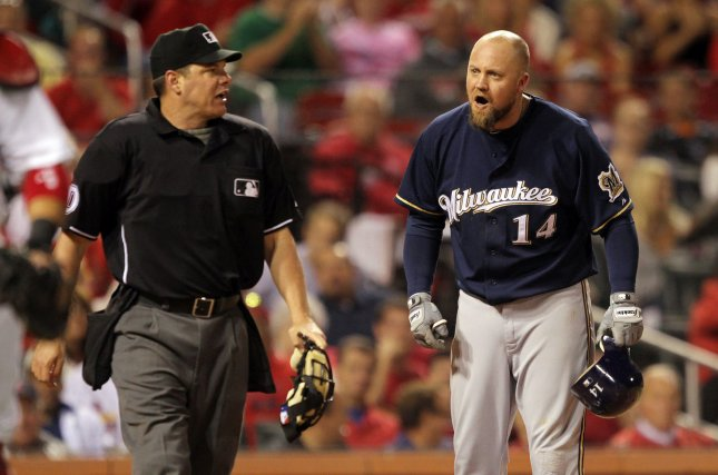 Milwaukee Brewers Casey McGehee yells at home plate umpire D.J. Reyburn after being thrown out of the game, arguing a called third strike in the fourth inning against the St. Louis Cardinals at Busch Stadium in St. Louis, Sept. 7, 2011. UPI/Bill Greenblatt