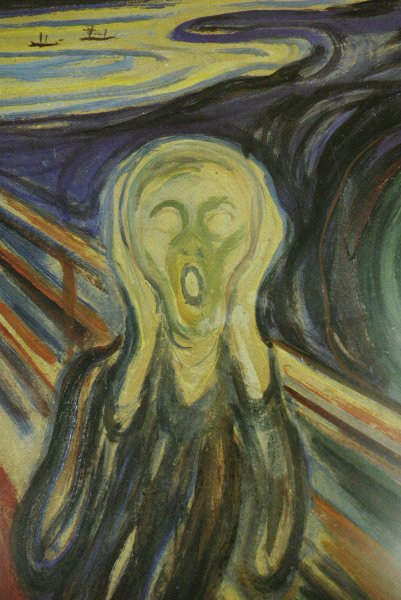 Robbers in Oslo, Norway, stole Edvard Munch's The Scream (shown here) and another of his paintings Aug.22, 2004. {The paintings were recovered about two years later.) (UPI Photo/Bill Greenblatt)