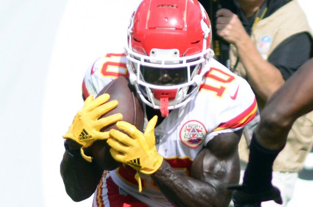 Kansas City Chiefs wide receiver Tyreek Hill had a career-high 12 receivingtouchdowns in 2018. File Photo by Archie Carpenter/UPI