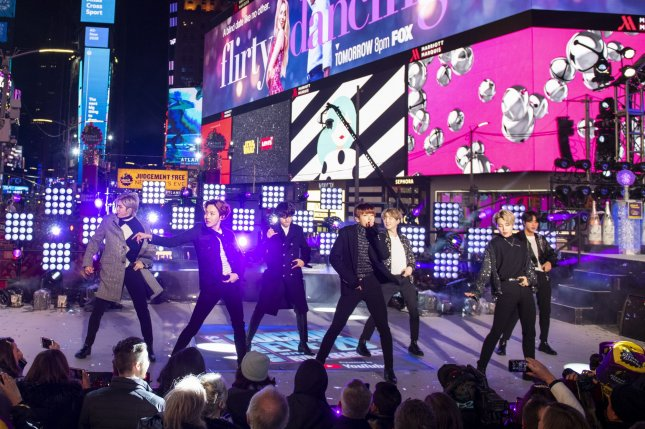 BTS performed in Saudi Arabia in October 2019 following a request from Saudi Arabia directly to President Moon Jae-in, Moon said Wednesday in Seoul. File Photo by Corey Sipkin/UPI