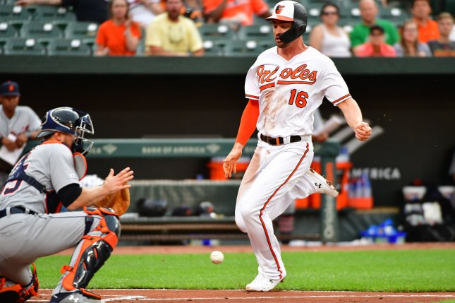 Baltimore Orioles star Trey Mancini (16) started chemotherapy for colon cancer April 13. File Photo by David Tulis/UPI