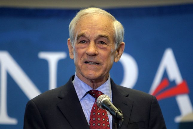 Presidential candidate Ron Paul addresses a crowd of supporters on the campus of Lindenwood University in St. Charles, Mo., on March 10, 2012. The former representative appeared to slur his words and stutter during a live stream Friday. File Photo by Bill Greenblatt/UPI