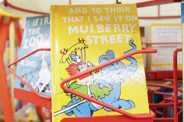 Dr. Seuss children's book And to Think That I Saw It on Mulberry Street is on a display rack at Strand book store in New York City on Tuesday. Six Dr. Seuss books, including And to Think That I Saw It on Mulberry Street and If I Ran the Zoo, will no longer be published. File Photo by John Angelillo/UPI