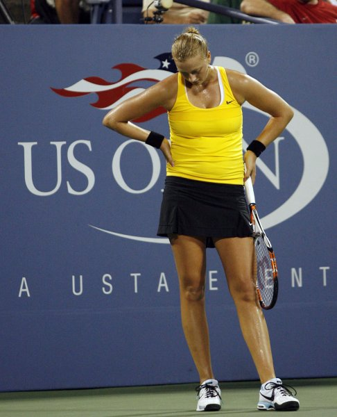 Petra Kvitova of the Czech Republic reacts after losing a point in the second set of her match against Dinara Safina of Russia on day 6 at the US Open Tennis Championships at the Billie Jean King National Tennis Center in New York on September 4, 2009. UPI/John Angelillo