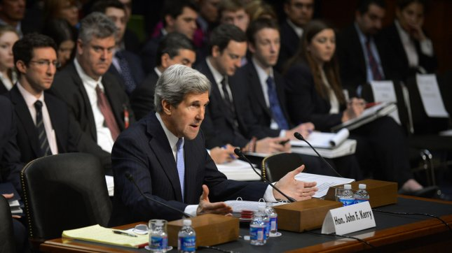 Sen. John Kerry (D-MA) testifies during his Senate Foreign Relations Committee confirmation hearing to be the next Secretary of State on Capitol Hill in Washington, D.C. on January 24, 2013. If confirmed Kerry will be replacing current Secretary Hillary Clinton. UPI/Kevin Dietsch