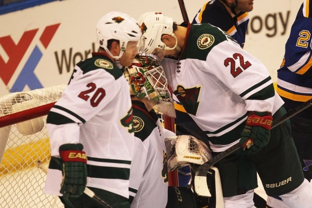 Nino Niederreiter (22) scored twice as the Minnesota Wild snapped a four-game losing streak with a 5-1 win over the Ottawa Senators at Xcel Energy Center. File Photo by Bill Greenblatt/UPI