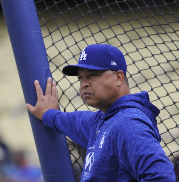 manager Dave Roberts and his Los Angeles Dodgers host the Los Angeles Angels on Friday. Photo by Lori Shepler/UPI