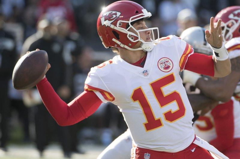 Kansas City Chiefs quarterback Patrick Mahomes (15) has 43 touchdowns this season. Photo by Terry Schmitt/UPI