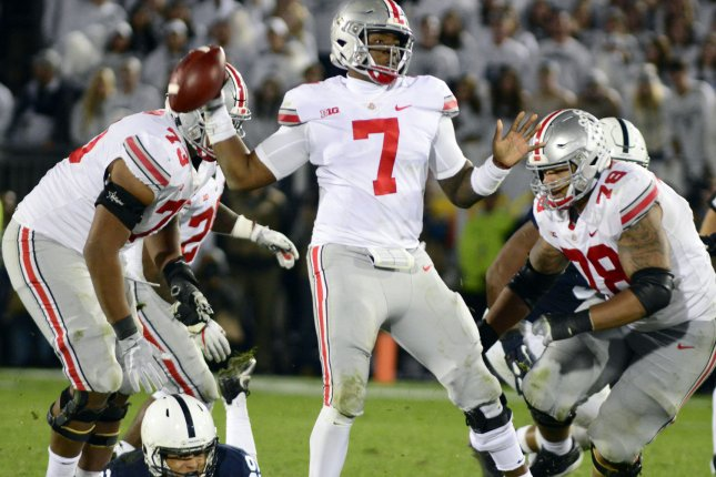Ohio State Buckeyes quarterback Dwayne Haskins is expected to be the top quarterback selected in the 2019 NFL Draft. Several quarterback-needy teams are in the top half of the draft order, including the New York Giants, Jacksonville, Denver and Miami. File Photo by Archie Carpenter/UPI