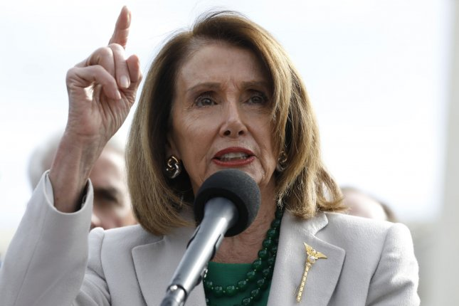 House Speaker Nancy Pelosi, D-Calif., speaks during an event in front of the Supreme Court in Washington to call on the Trump administration to halt legal assault on Americans health care on April 2, 2019. Photo by Yuri Gripas/UPI