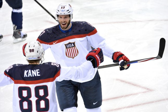 Anaheim Ducks and Team USA forward Ryan Kesler (R) underwent major hip surgery after the 2016-17 season. He has struggled with the pain since that operation. File Photo by Kevin Dietsch/UPI