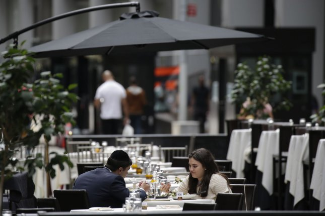 A new study found newly ill people without any known contact with a person with COVID-19 were almost three times as likely to have patronized a restaurant over the prior two weeks. Photo by John Angelillo/UPI