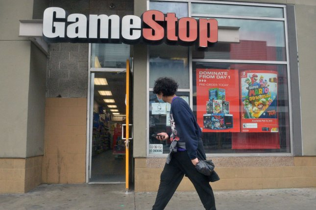 A GameStop retail location is seen in Los Angeles, Calif., on January 31, after a ragtag group of amateur investors, video gamers and Internet trolls effectively brought some Wall Street investors to their knees. Photo by Jim Ruymen/UPI