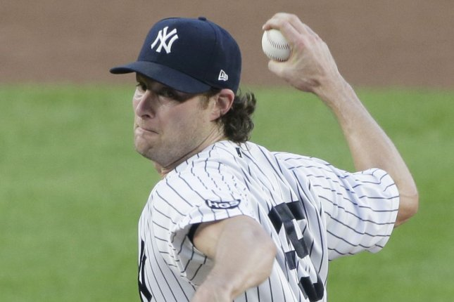New York Yankees starting pitcher Gerrit Cole set a new record for strikeouts without a walk, but took his second loss of the season Monday in Arlington, Texas. File Photo by John Angelillo/UPI