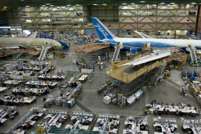 The issue first arose after Boeing said last year there was incorrect spacing on some 787 parts, including the fuselage.File Photo by Jim Bryant/UPI