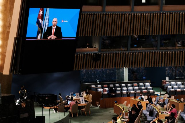 Cuban President Miguel Mario Díaz-Canal Bermúdez speaks via video link at the 76th session of the United Nations General Assembly at United Nations headquarters on Thursday. Photo by Spencer Platt/UPI