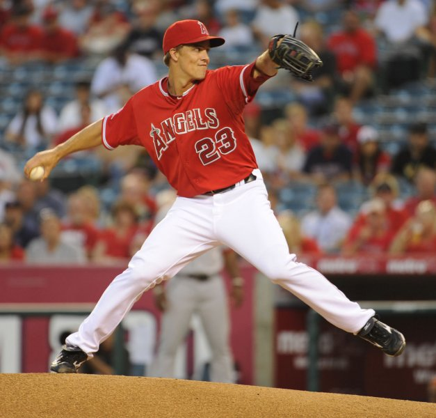 Zack Greinke prepares to throw a pitch while he was with the Los Angeles Angels Aug. 30, 2012.l UPI/Lori Shepler.