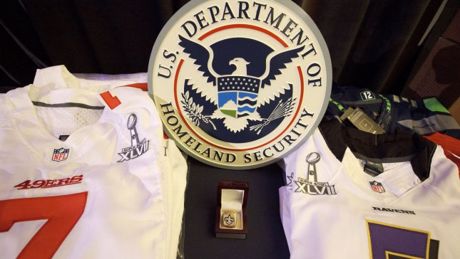 Samples of counterfeit merchandise on display as U.S. Immigration and Customs Enforcement (ICE) agents and NFL officials hold a press conference to discuss counterfeit merchandise prior to Super Bowl XLVII at the Ernest N. Morial Convention Center in New Orleans on January 31, 2013. The San Francisco 49ers will play the Baltimore Ravens in Super Bowl XLVII on February 3, 2013. UPI/Bevil Knapp