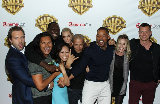 Actors Jai Courtney, Adam Beach, Karen Fukuhara, Adewale Akinnuoye-Agbaje, Cara Delevingne, Jay Hernandez, Will Smith, Margot Robbie and Joel Kinneman arrive for the Warner Bros. Pictures Presentation at CinemaCon 2016 in Las Vegas on April 12, 2016. File Photo by James Atoa/UPI