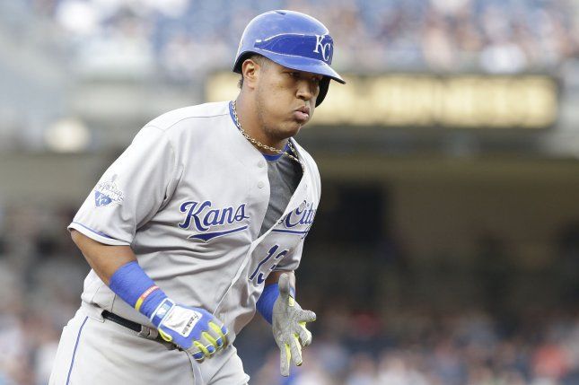 Salvador Perez and the Kansas City Royals blasted their way past the Chicago White Sox on Saturday. Photo by John Angelillo/UPI