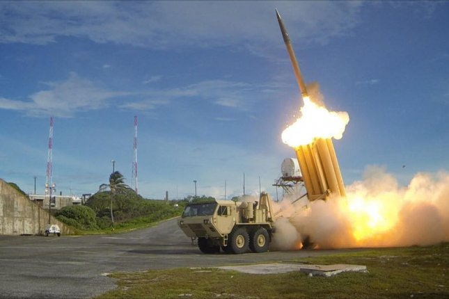 The first of two Terminal High Altitude Area Defense interceptors is launched during a successful intercept test on March 10, 2013. The first elements of the THAAD system arrived in Korea on March 6. The U.S. tested the system in Alaska on Sunday. Photo by Ralph Scott/DoD/UPI