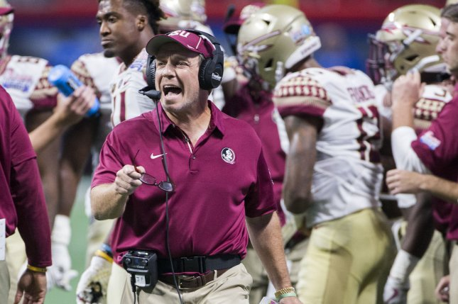 Florida State head coach Jimbo Fisher reacts to a call in the first half of the Chick-fil-A Kickoff game against Alabama at the new Mercedes-Benz Stadium in Atlanta, Georgia on September 2, 2017. File photo by Mark Wallheiser/UPI