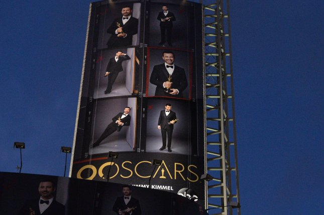 An oversized replica of the official 90th annual Academy Awards ceremony of host Jimmy Kimmel hovers over Hollywood Blvd. Photo by Jim Ruymen/UPI