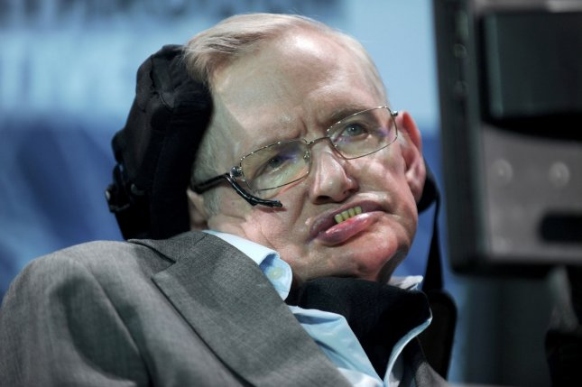 Stephen Hawking's ashes will be interred near Isaac Newton's grave at Westminster Abbey. File Photo by Dennis Van Tine//UPI
