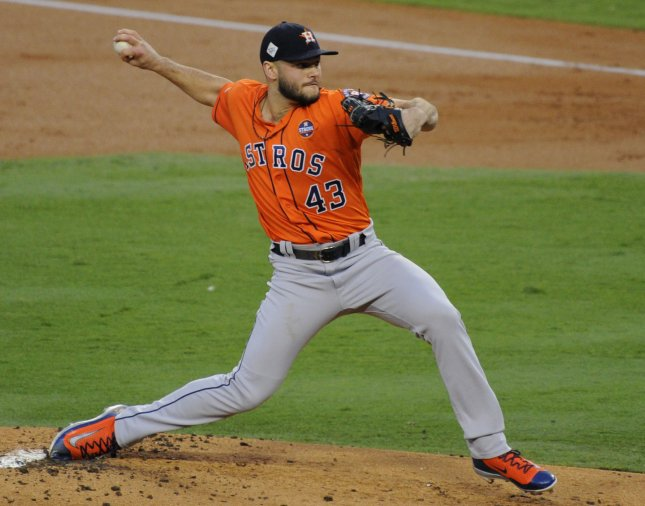 Lance McCullers Jr. and the Houston Astros take on the Los Angeles Angels on Sunday. Photo by Lori Shepler/UPI