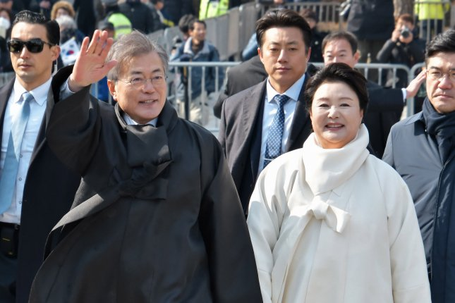 South Korean President Moon Jae-in (L) said he welcomes greater economic cooperation with the North. File Photo by Keizo Mori/UPI