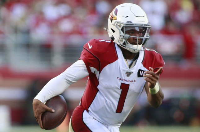 Arizona Cardinals quarterback Kyler Murray threw a touchdown pass and ran for two scores last week and is my No. 1 fantasy football quarterback for Week 3. File Photo by Bruce Gordon/UPI