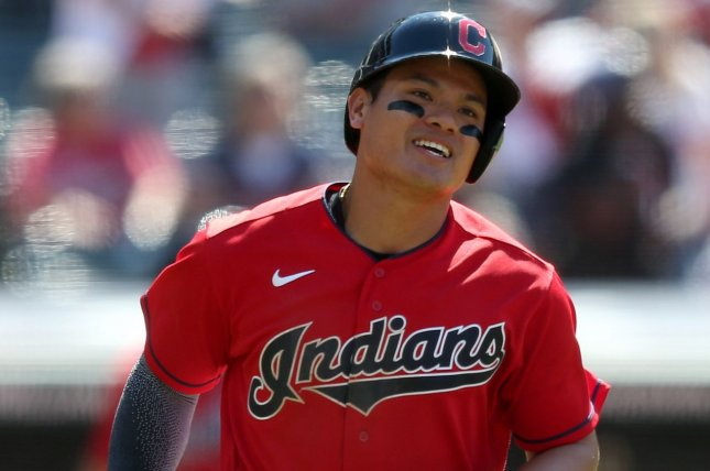Cleveland Indians third baseman Yu Chang rounds the bases after hitting a two-run homer in the eighth inning against the Baltimore Orioles on Thursday at Progressive Field in Cleveland. Photo by Aaron Josefczyk/UPI