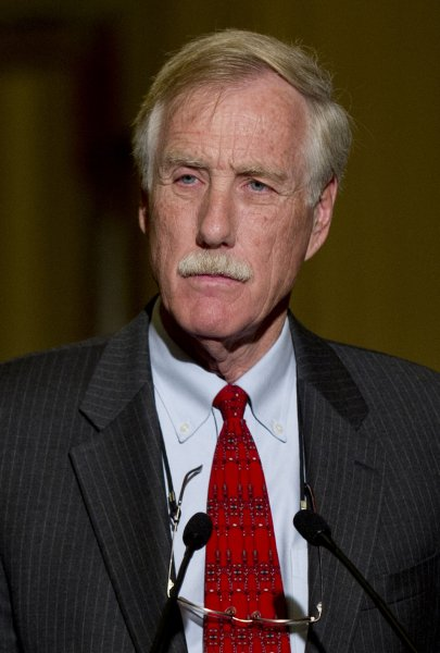 Sen. Angus King (I-ME) announces he would caucus with the Democrats during a press conference on Capitol Hill in Washington on November 14, 2012. UPI/Kevin Dietsch