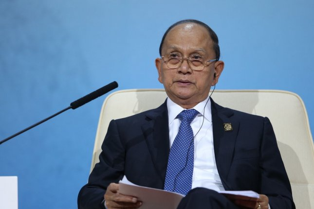 Myanmar's President Thein Sein speaks at a summit dialogue on economic reforms in Beijing, China, on Nov. 9, 2014. On Nov. 15, 2015, Sein vowed a smooth transfer of power in Myanmar's government after an opposition party won majority rule in Nov. 8 elections. Pool photo by Jin Liwang/UPI