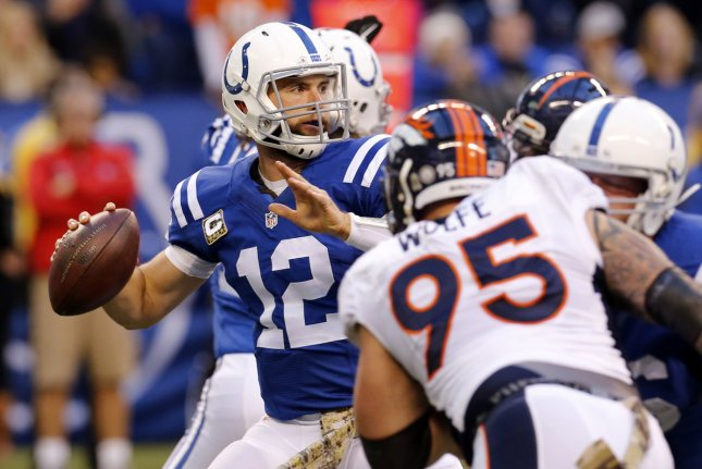 Indianapolis Colts quarterback Andrew Luck (12) throws under pressure from the Denver Broncos' Derek Wolfe (95) during the first half of play at Lucas Oil Stadium in Indianapolis, Indiana, November 8, 2015. Photo by John Sommers II/UPI