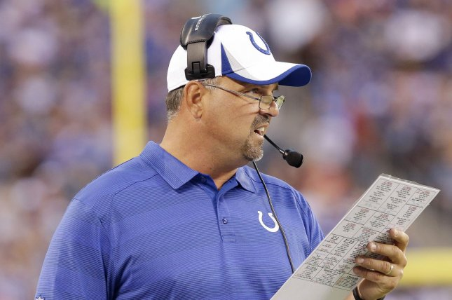 Former Indianapolis Colts defensive coordinator Greg Manusky stands on the sidelines in the first quarter against the New York Giants in an NFL preseason game at MetLife Stadium in East Rutherford, New Jersey on August 18, 2013. UPI /John Angelillo