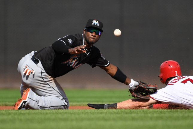Former Miami Marlins shortstop Adeiny Hechavarria has the ball skip by him as Washington Nationals' Trea Turner steals second base in the first inning. File photo by Pat Benic/UPI