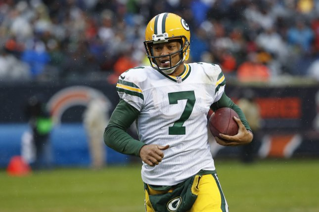 Green Bay Packers quarterback Brett Hundley (7) rushes against the Chicago Bears during the second half at Soldier Field in Chicago on November 12, 2017. Photo by Kamil Krzaczynski/UPI