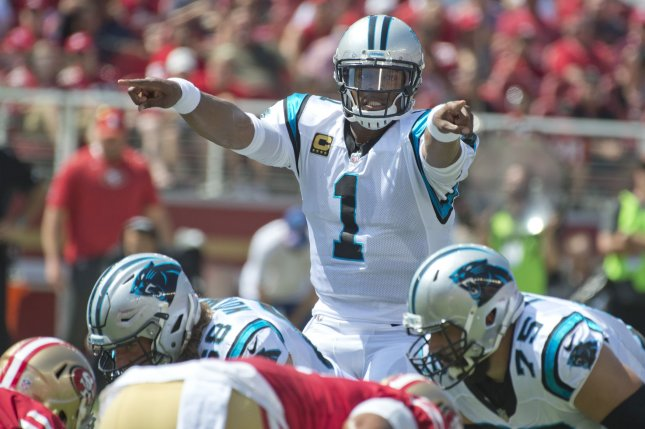 Carolina Panthers QB Cam Newton changes the call against the San Francisco 49ers in the first quarter at Levi's Stadium in Santa Clara, California on September 10, 2017. File photo by Terry Schmitt/UPI