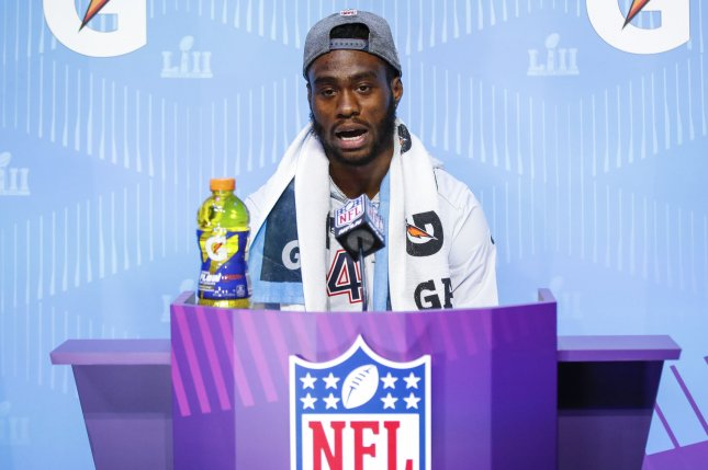 New England Patriots wide receiver Brandin Cooks speaks to the media at Super Bowl LII Opening Night at Xcel Energy Center on January 29 in Minneapolis, Minne. Photo by Kamil Krzaczynski/UPI