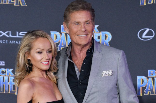 David Hasselhoff (R) tied the knot with Hayley Roberts at an intimate wedding in Puglia. File Photo by Jim Ruymen/UPI