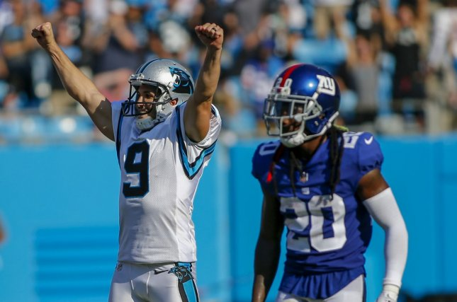 141c86cab Carolina Panthers place kicker Graham Gano (9) reacts after kicking a  winning field goal in the final seconds as New York Giants cornerback  Janoris Jenkins ...