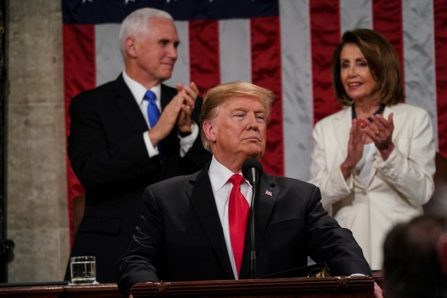 President Donald Trump delivers the State of the Union address, with Vice President Mike Pence and Speaker of the House Nancy Pelosi, at the Capitol in Washington, D.C. on Tuesday. Photo by Doug Mills/UPI