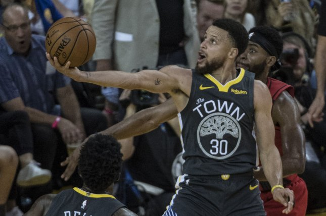Golden State Warriors guard Stephen Curry has won three NBA championships with the Warriors, but hasn't been named Finals MVP during his career. Photo by Terry Schmitt/UPI