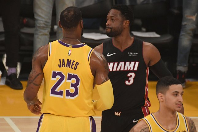 Former Miami Heat star Dwayne Wade was teammates with Los Angeles Lakers forward LeBron James while with the Heat and Cleveland Cavaliers. The duo teamed up for two championships. File Photo by Jon SooHoo/UPI