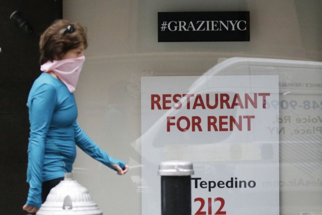 A restaurant for rent is seen on Madison Avenue in New York City on September 30. Thousands of similar businesses nationwide have been forced to close, some temporarily and some permanently, by the coronavirus pandemic this year. File Photo by John Angelillo/UPI